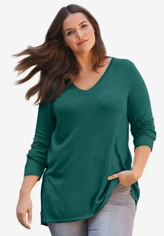 Pleat Back Sweater by ellos®, EMERALD GREEN