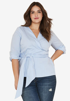 Self-Sash Wrap Blouse by ellos®,