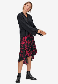High-Low Flounce Skirt by ellos®, BLACK MAROON RED PRINT