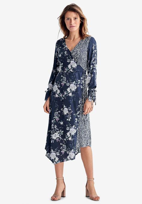 Mixed-Print Wrap Dress by ellos®