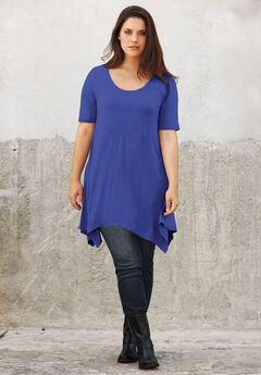 Scoop Neck Hanky Hem Tunic by ellos®,