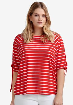 Slit-Sleeve Knit Top by ellos®, HOT RED WHITE STRIPE
