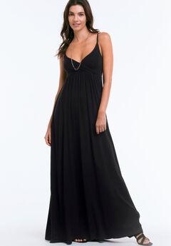 Knit Surplice Maxi Dress, BLACK