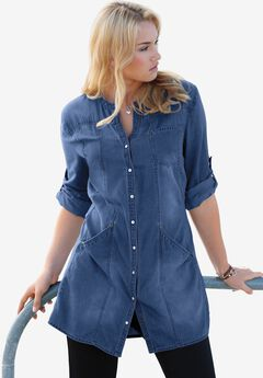 Snap Front Denim Tunic,