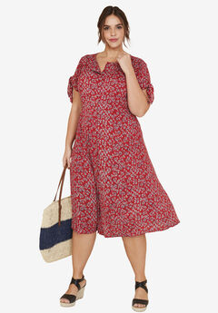 Tie-Sleeve Dress by ellos®, CLASSIC RED FLORAL