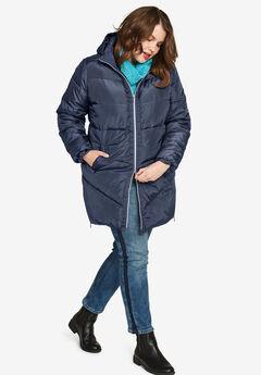 Long Puffer Coat by ellos®, NAVY