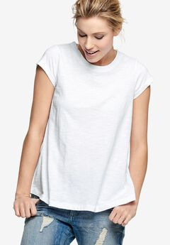 Trapeze Knit Tee by ellos®, WHITE