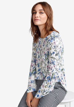 Bell Sleeve Tee by ellos®, WHITE MULTI FLORAL