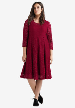 Fit & Flare Stretch Lace Dress by ellos®, RICH BURGUNDY