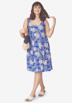 Crossover Back Tank Dress by ellos®, BLUEBERRY FERN PRINT