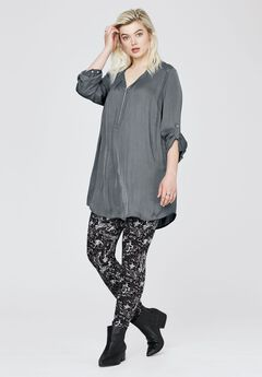 Zip-front sateen tunic by ellos®,