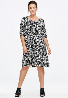 Printed Long Sleeve A-line Dress by ellos®, BLACK WHITE DOT