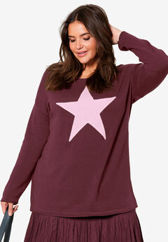 Star Applique Sweater by ellos®, DEEP WINE PORCELAIN PINK