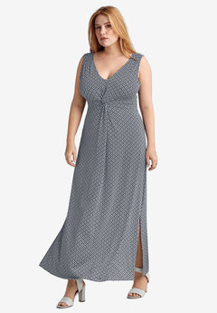 Knot-Front Maxi Dress by ellos®, NAVY/WHITE PRINT