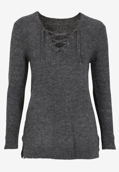 Lace-Up Pullover Sweater by ellos®,