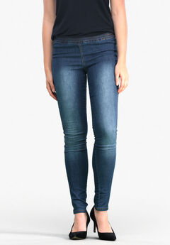 Elastic Waist Denim Jeggings by ellos®,