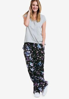 Wide-Leg Soft Pants by ellos®, BLACK MULTI FLORAL PRINT