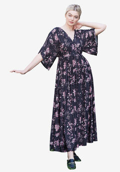 Harper Fit & Flare Maxi by ellos®, BLACK PINK FLORAL