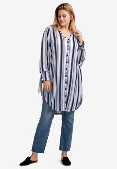 Tie-Sleeve Button-Front Tunic by ellos®, WHITE BLUE STRIPE