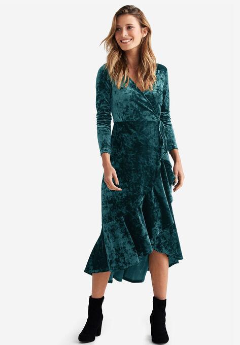 Selina Velvet Wrap Midi Dress by ellos®