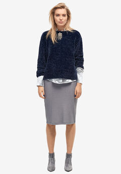 Glitter Rib-Knit Skirt by ellos®, SHADOW GREY
