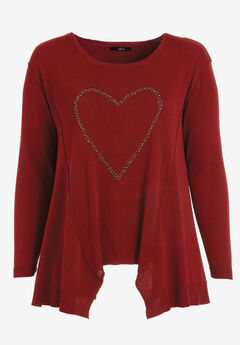 Beaded Applique Hanky Hem Sweater by ellos®, MAROON RED HEART