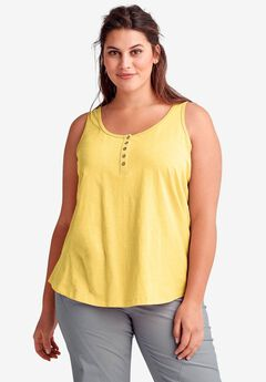 Sleeveless Knit Henley Tank by ellos®,
