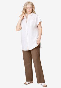 Linen Blend Drawstring Pants, PECAN BROWN