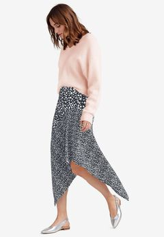 Mixed-Print Asymmetrical Skirt by ellos®, BLACK WHITE PRINT