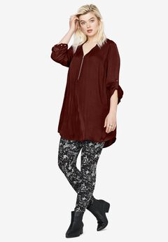 Zip-front sateen tunic,