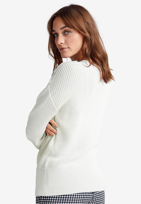 fbb1dac0 Shoulder-Button Sweater by ellos®| Plus Size Cardigans & Sweaters ...