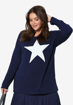 Star Applique Sweater by ellos®, NAVY IVORY