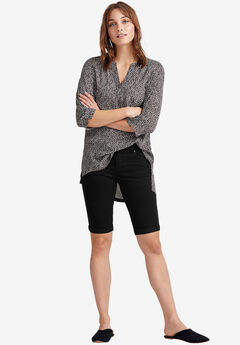 Stretch Twill Bermuda Shorts by ellos®, BLACK