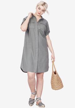 Button Front Linen Shirtdress by ellos®,