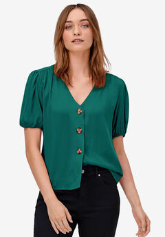 Contrast Button-Front Blouse by ellos®,