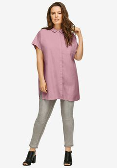 Oversized Linen Blend Tunic, DUSTY PINK