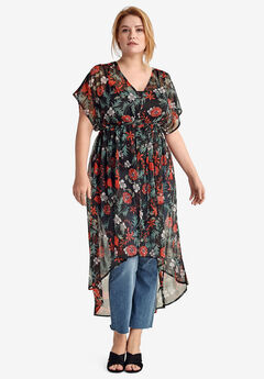 Sheer Empire-Waist Tunic by ellos®, BLACK MULTI FLORAL PRINT