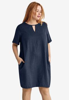Linen-Blend A-Line Dress by ellos®, NAVY