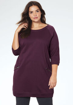 French Terry Zip Pocket Tunic by ellos®, WILD PLUM