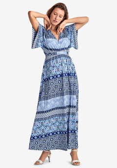 Harper Fit & Flare Maxi by ellos®, PALE SKY FLORAL STRIPE