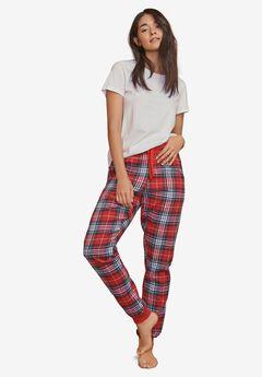 Plaid Flannel Sleep Pants, RED TARTAN PLAID