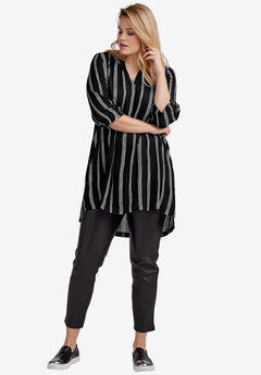 Notch Neck Crinkle Tunic,