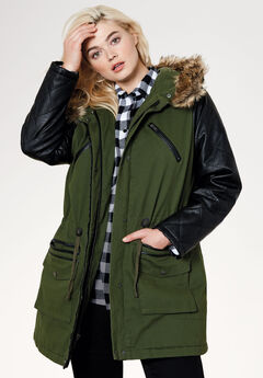 Quilted Faux Leather Sleeve Parka, FOREST GREEN