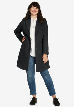 Malin Wool-Blend Coat, BLACK