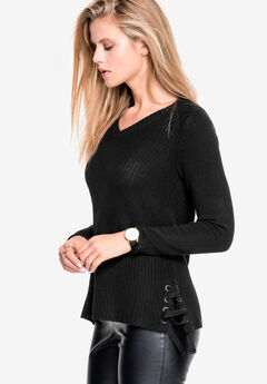 Side Lace-Up Pullover Sweater by ellos®,