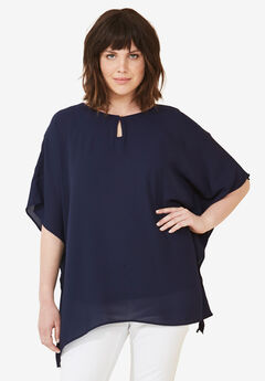 Sheer Poncho Tunic by ellos®,