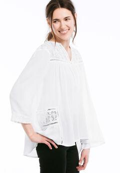 Lace Trim Crinkle Flowy Blouse by ellos®,