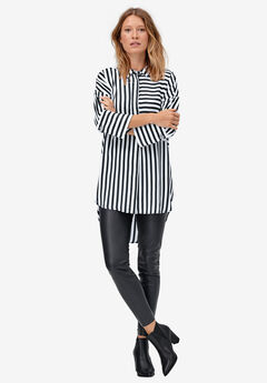 Stripe Tunic Shirt by ellos®, WHITE BLACK STRIPE