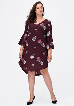 Flounce Sleeve A-Line Dress by ellos®,