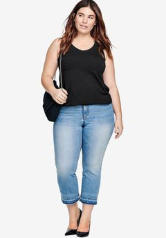 Cropped Frayed Hem Stretch Jeans by ellos®,